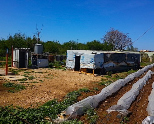 UN agencies set up water tanks and bathroom facilities outside each tent